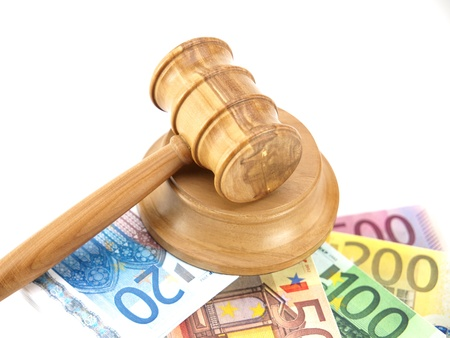 judgments: Auction gavel and money euro