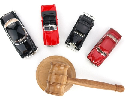 Gavel auction with antiques cars  photo