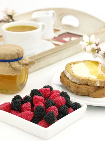 Blackberry and raspberry, with a breakfast set background photo