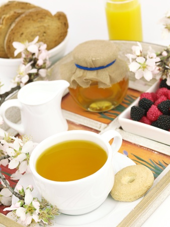 Healthy breakfast set on a wooden tray Stock Photo - 9102753