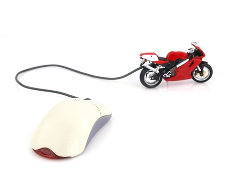 online auction: Motorcycle connected to a computer mouse