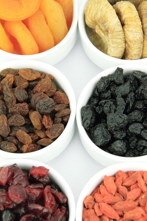 dried plums:  Various dried fruits in bowl