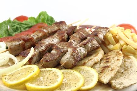 Plate of traditional Greek skewer (souvlaki)