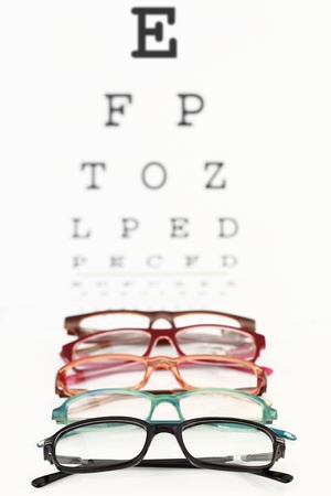 Collection of modern medical eyeglasses on an eye chart photo