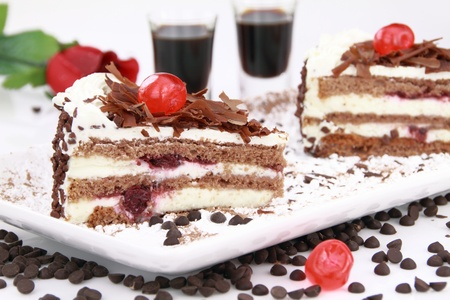cherry pie: Black Forest, a traditional German cake with cherry liqueur
