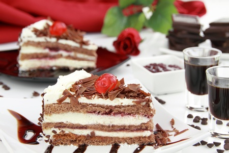 Black Forest, a traditional German cake with cherry liqueur photo