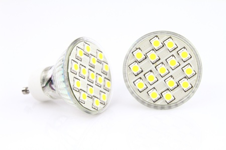 led lamp: LED light bulbs over white background