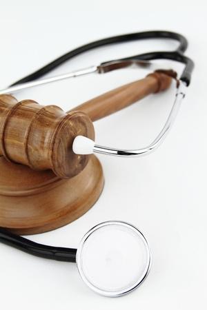 malpractice: Judge's Gavel and stethoscope