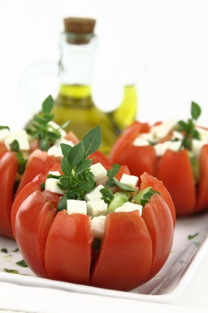 caprese salad: Caprese salad with tomatoes, mozzarella and basil