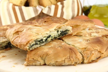 filo pastry: Homemade puff spinach pie with filo pastry