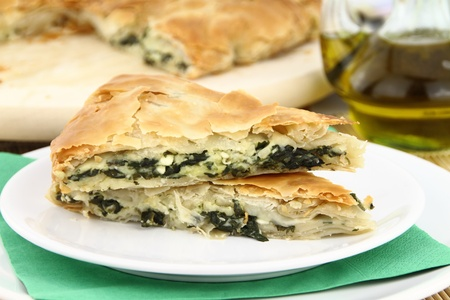 puff: Homemade puff spinach pie with filo pastry