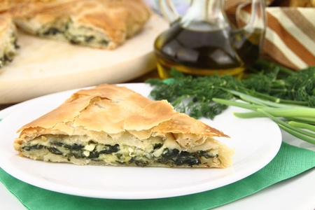 fresh spinach: Homemade puff spinach pie with filo pastry