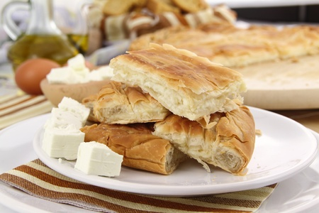 filo pastry: Homemade puff cheese pie with filo pastry