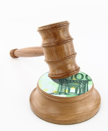 Auction gavel with euro design photo