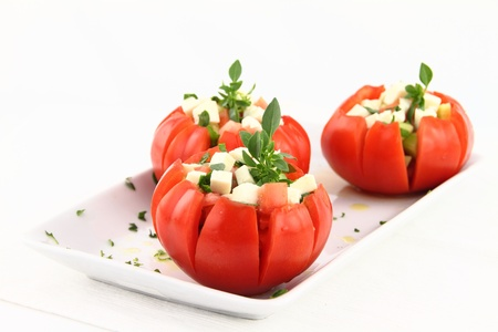 Caprese salad with tomatoes, mozzarella and basil Stock Photo - 9747532