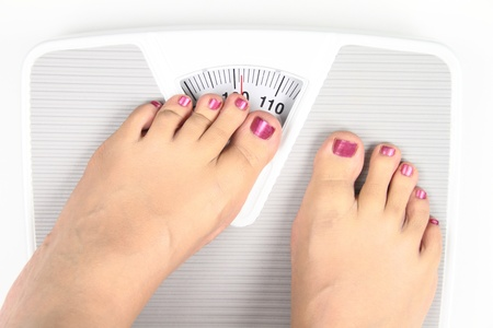 Womans feet on bathroom scale photo