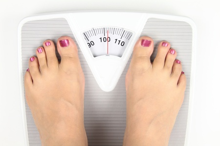 fat person: Woman feet on bathroom scale