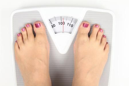 overweight people: Woman feet on bathroom scale