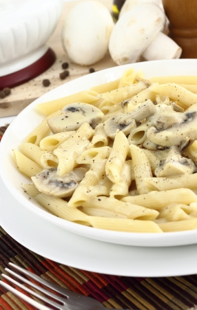 penne pasta: Penne pasta with mushroom cream