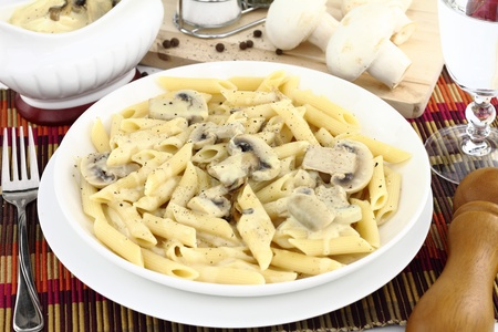 Penne pasta with mushroom cream