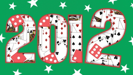 2012 design with cards and dice Stock Photo - 10144182