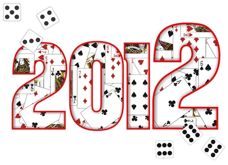 2012 design with cards and dice Stock Photo - 10144127