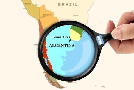argentina map: Magnifying glass over a map of Argentina Stock Photo