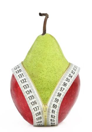 Dieta contra la grasa y frutas Foto de archivo