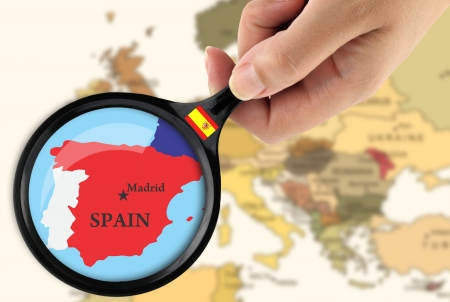 spain map: Magnifying glass over a map of Greece Stock Photo