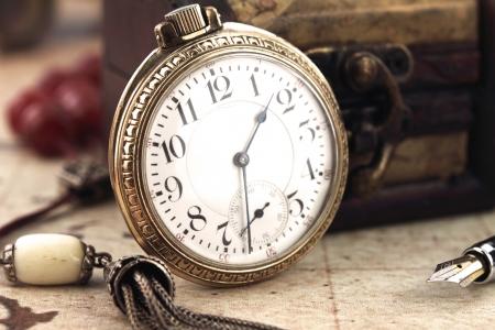 artifact: Retro pocket clock Stock Photo
