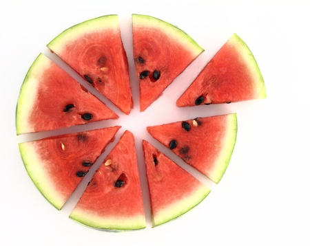 Pie chart of watermelon slices photo