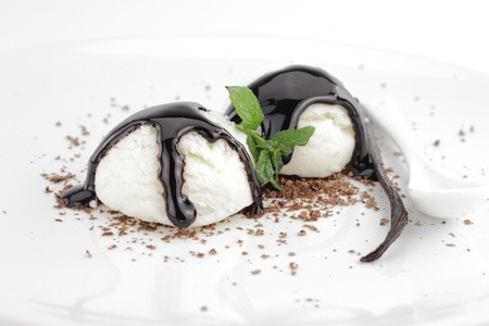 cool mint: Two balls of Vanilla ice cream