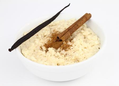 pudding: Creamy rice pudding on a bowl