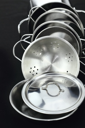 stainless: Group of stainless steel kitchenware  Stock Photo