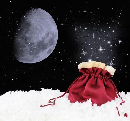 Magic satin sack on snow photo