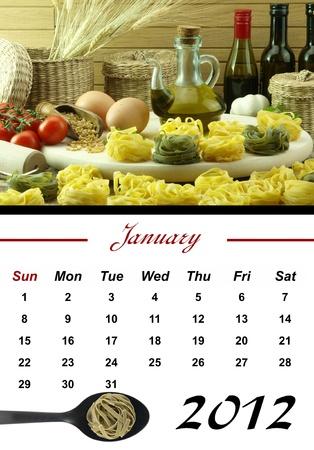Monthly Pasta Calendar. January 2012 photo