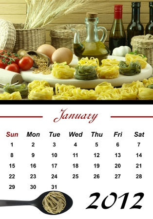 Monthly Pasta Calendar. January 2012 photo