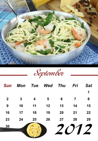 Monthly Pasta Calendar. September 2012 photo