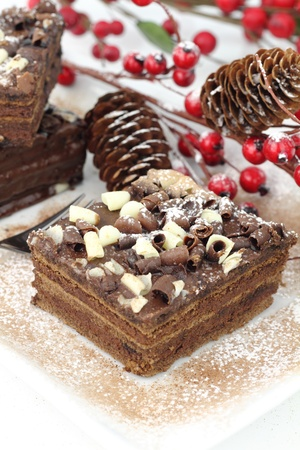 christmas dish: Slices of Christmas chocolate cake