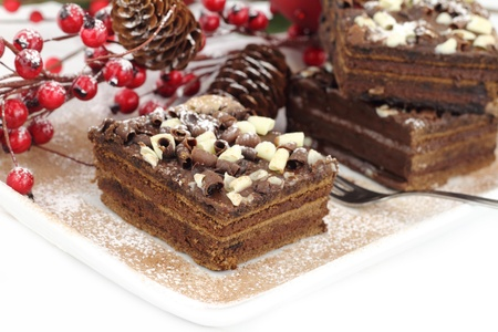 Slices of Christmas chocolate cake photo