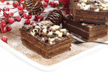 noel chocolat: Tranches de g�teau au chocolat de No�l