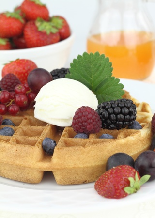 Waffle with vanilla ice cream Stock Photo