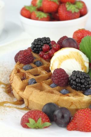 Waffle with vanilla ice cream photo