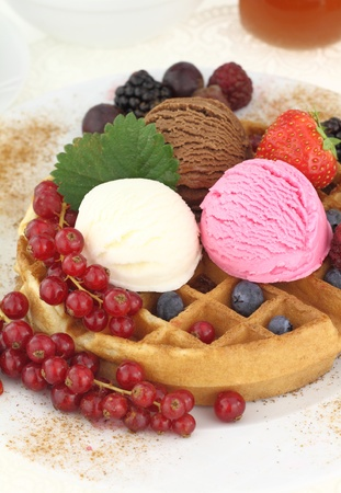 Fresh Waffle with ice cream photo