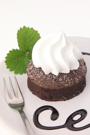 souffle: Chocolate souffle cake on a dish