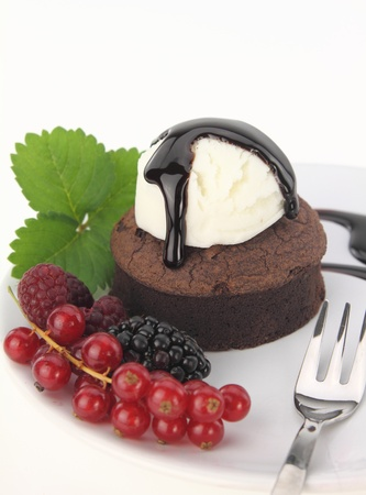 brownies: Chocolate souffle cake on white background