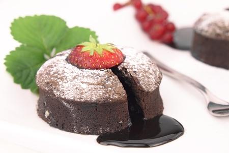souffle: Chocolate souffle cake on white background