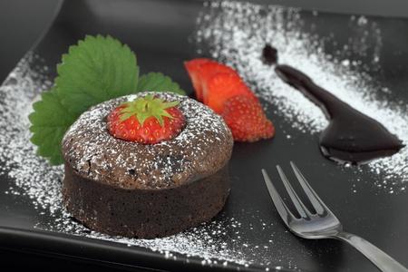 souffle:  Chocolate soufflé cake on a dish