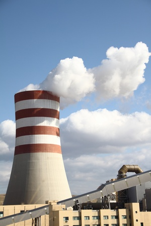Smoking chimney of a power plant