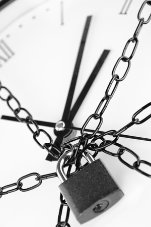 Clock bound with chain and padlock  photo